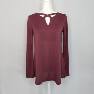 Sadie & Sage Maroon Long Sleeve Top Sz Large
